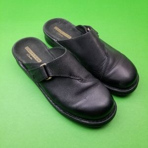 Clarks Collection Black Leather Mules Clogs Slip O